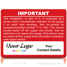 Extra Large Personalised RCD Test Labels in Full Colour - Red