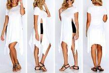 SHORT SLEEVE ASYMMETRICAL T-SHIRT DRESS WITH HIGH SLIT