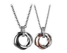 Couple lovers Men's Women's Stainless steel 4 rings Pendant Necklace with chain