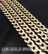 NEW 10K YELLOW GOLD 3.5 MM-11 MM SOLID CUBAN CHAIN NECKLACE MENS & LADIES