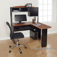 Computer Desk & Chair Corner L-Shape Hutch Ergonomic Study Table Home Office New