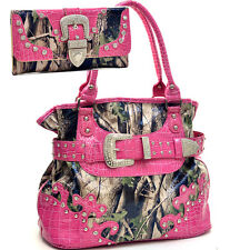 Western Camouflage Belt Buckle Rhinestone Purse With Matching Wallet