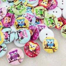 New 50/100pc White Print Owl Tower Wood Buttons Clothing Sewing 20 mm