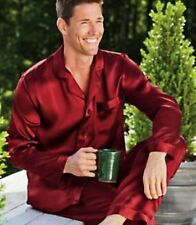 Mens Silk Satin Pajamas Pajama PJS  Sleepwear Set S,M,L,XL,2XL,3XL Black White