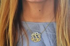 Monogram Style Necklace Script Letter Initial Pendant Necklace Gold and Silver