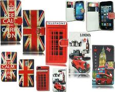LEATHER FLIP BOOK POUCH SOUVENIR UNION JACK LONDON CASE FOR VARIOUS PHONE MODELS