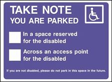 Parked in Space Reserved for Disabled Parking, No Parking Sign, Stickers, PVC