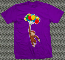 CURIOUS GEORGE PARTY BALLOONS Kids Childrens Printed T-Shirt Yellow Hat