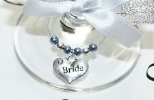 Wedding Wine Glass Charms -Top Table -Cornflower Blue - Choice of Charms/Colours