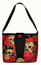 ROSES & SKULLS PURSE with COFFIN FLAP - horror punk psychobilly rockabilly goth