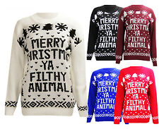 New Womens Mens Unisex Knitted Merry Christmas Ya Filthy Animal Jumper Sweater