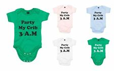 Party at my crib, 3am!, Printed Baby Grow
