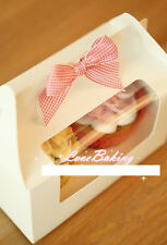 10 pcs Bakery Box Gift Boxes Cupcake Pastry Muffin Boxes 2 grid loaded