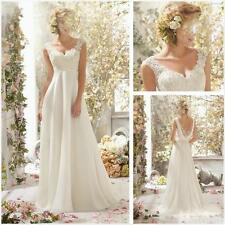 chiffon beautiful white/ivory new wedding dress in stock size 6 8 10 12 14 16