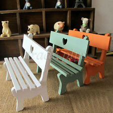 Vintage Small Fairy Garden Wooden Chair Bench Dollhouse Decoration Kid Xmas Gift