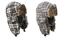 Aviator Style Trapper Hat Faux Fur Check Design Adults Winter Cap with Ear Flaps