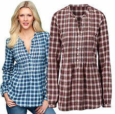 Ladies Checked Shirts Womens Size UK 8 - 28 Check Blouse Plus sizes Wine Brown