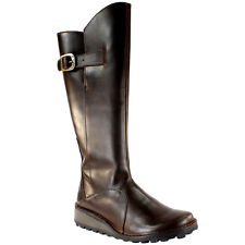 WOMENS FLY LONDON MOL WARM FUR LINED BROWN LEATHER KNEE HIGH BOOTS UK 3-8
