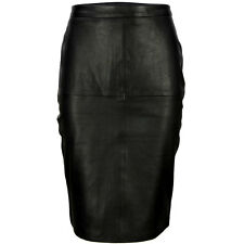 VIPARO Black High Waisted Pencil  Lambskin Leather Skirt - ST2