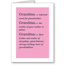 """Personalised Typographic """"Grandmother Dictionary Definition"""" Birthday Card /Gift"""