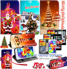 CHRISTMAS XMAS WALLET LEATHER FLIP BOOK CARD SLOT POUCH CASE FOR MOBILE PHONES