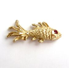 Tie Tack Anson 14k yellow gold Lapel pin FISH with ruby eye