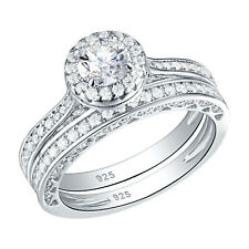 Round White CZ 925 Sterling Silver Gold Plated Wedding Band Engagement Ring Sets