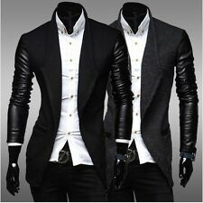 Autumn Men's fashion PU Leather Sleeve Wool Coat Jacket Trench Outerwear 1F33