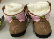 John Deere Pink Cowboy Slip On Boot Slippers Faux Suede LP51366/LP51367/LP51368