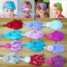 New Nice Babys Kids Infant Toddler Headband Peacock Feather Flower Bow Hair Band
