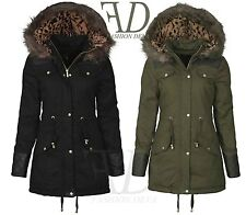 New Woman Quilted Leather Sleeve & Shoulder PARKA Jacket Fishtail Fur Hood Coats