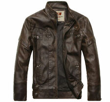 NEW Fashion Men's leather Motorcycle Coats Jackets Washed Leather Coat M-3XL