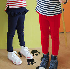 Two Colors Toddler Kid Girls Clothes Falbala Pantskirt Leggings Trousers Sz2-7Y