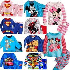 Many Boys Girls Minnie Superman Pajamas Long Sleeve Sleepwear 2pc Sets For 1-7Y