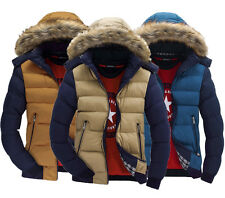 Men's Warm Down Cotton Jacket Fur Collar Thick Winter Coat Outwear Hooded Parka