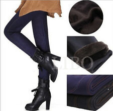 Sexy Women Winter Thick Warm Fleece Fur Tight Pencil Leggings skinny Pants Jean