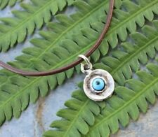 Evil Eye Anklet or Bracelet - brown leather & silver plated blue eye charm
