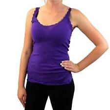 Women's Purple Tank Top Ribbed Cotton Shirt Camisole with Lace Detail