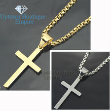 "24"" men stainless steel micro gold Silver Plain cross pendant BOX Necklace Chain"