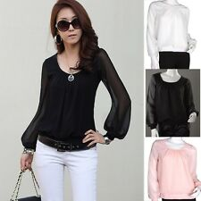 Trendy Lady Chiffon Lantern Popular Style Sleeve Shirt Tops Blouses White Retro