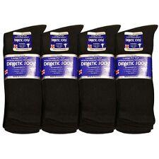 3 6 12 pairs Diabetic Socks Men Unisex Crew Length Size 9-15 Black Grey & White.