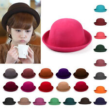 Fashion Girl Womens Lady Vogue Vintage Wool Cute Trendy Solid Bowler Derby Hat