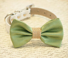 Green Dog bow tie collar Burlap Pet wedding accessory Every day Leather collar