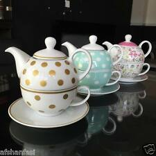 RETRO TEAPOT TEA TIME TEA FOR ONE GIFT SET TEAPOT TEA CUP & SAUCER SET POLKADOT