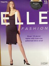 ELLE LADIES SHEER 15 DENIER TIGHTS WITH HIGH-RISE PATTERNED BIKINI BRIEF