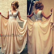 New Long Chiffon Paillette Evening Formal Party Ball Gown Prom Bridesmaid Dress