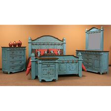 Turquoise Grand Bedroom Set, King Or Queen, Real Wood, Rustic, Western