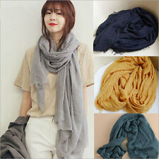 Fashion Long Cotton Linen Voile Solid Shawl Scarf Wrinkle Stole For Ladies