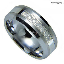 Comfort fit Tungsten Ring 7 CZ center brushed & polish Mens Wedding Band jewelry