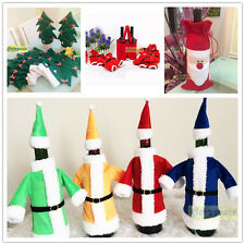 Hot Xmas Wine Champagne Decor Cover Party Ornament Bow Gift Colorful Jacket Suit
